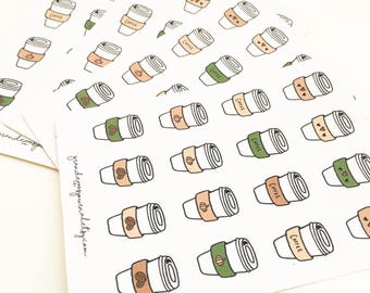 Cute coffee cup stickers, mini sticker sheet, bullet journal stickers, bujo stickers, planner stickers