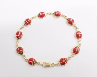 "Ladybug Bracelet, Gold Bracelet, Enamel Bracelet, Link Bracelet, 14k Yellow Gold Red & Black Enamel Ladybug Link Bracelet 7"" #3007"