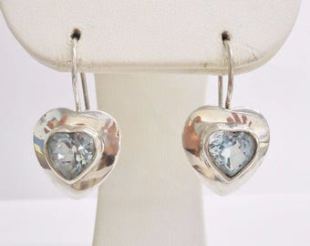 Blue Topaz Earrings, Vintage Earrings, Heart Earrings, Sterling Silver Heart Shaped Blue Topaz Drop Dangle Drop Hook Earrings #3541