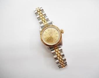 Rolex Watch, Ladies Rolex, Two Tone Rolex, Gold Watch, Ladies 1989 Rolex 67193 Two Tone Stainless 18K Champagne Dial Watch #4202