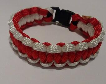 Christmas bracelet, bracelet, paracord bracelet, red & white bracelet