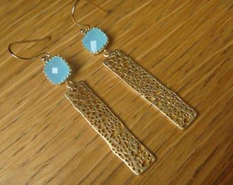 Golden filigree Earrings: Crystal lagoon blue