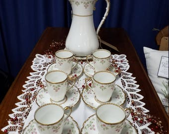 Limoges chocolate/tea pot with 6 cups and saucers antique vintage china shabby chic