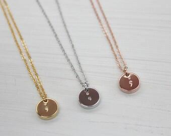 Semicolon hand stamped necklace, mental health awareness, semi-colon, depression survivor, semi colon