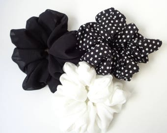 A set of 3 scrunchies, white , black and white and Black scrunchies scrunchie Chouchou, hair accessories, handmade by ScrunchiesCo