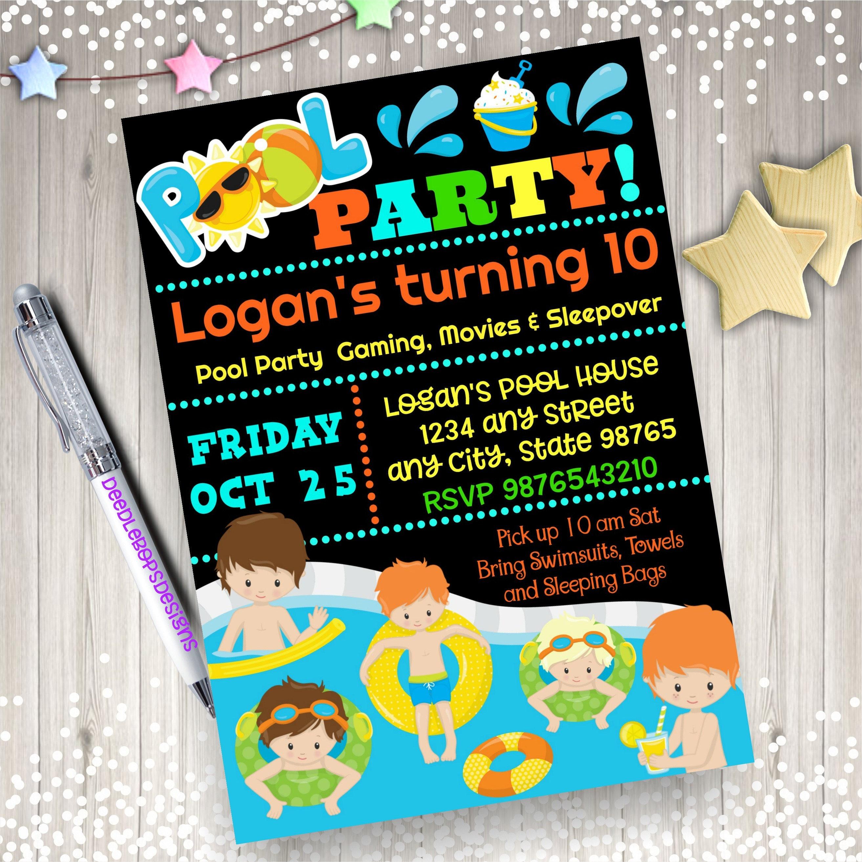 BOY Pool Party Birthday Invitation - Pool Party Invite - Pool Party ...