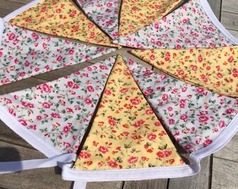 shabby chic bunting , floral bunting , Double sided bunting , vintage style bunting , 4ft bunting , country kitchen style , 9 flags bunting