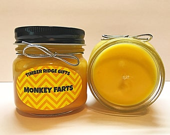 Monkey Farts - Soy Candles Handmade - Scented Candle - Soy Wax Candles - Scented Soy Candles - Handmade Candles - Jar Candles - Soy Candle
