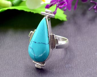 Natural Turquoise Pear Gemstone Ring 925 Sterling Silver R450