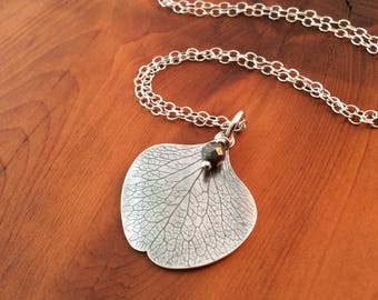 Beautiful Silver Charm Pendant, Skeletal Petal Pendant, Sterling Silver Petal Pendant, Boho Style Charm Pendant, Real Petal
