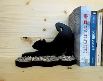 Black cat wooden bookends