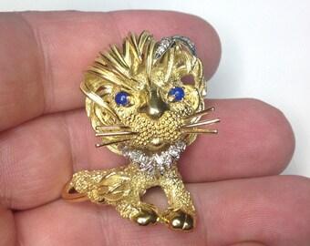 Estate Vintage Italian Designer 18K Yellow Gold Diamond Lion Cat Pendant Brooch