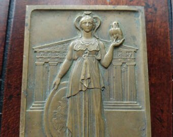 Rare and Beautifully Detailed Vintage French Bronze Art Nouveau Style Art Medal/Plaque Signed by Jean Vernon.