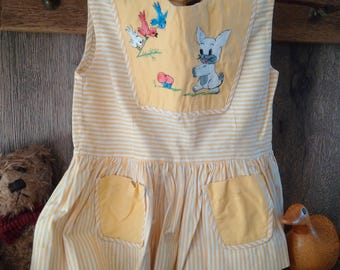 VINTAGE CHILDREN'S 1950's DRESS, yellow English dress hand-made with embroidered woodland creatures, very pretty girl's summer cotton dress