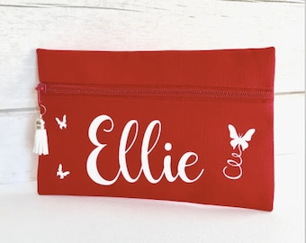 Teacher gift, personalised pencil case, red pencil case, pen case, custom pencil case, back to school, zipped pencil case