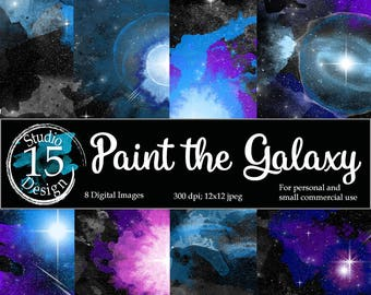 Galaxy Digital Paper-Watercolor Galaxy, Nebula digital paper, night skies digital paper, DigiScrap, galaxy scrapbooking, Free Commercial Use