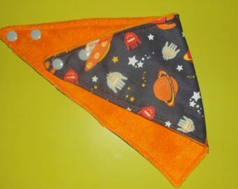 "Bandana bib, handmade, reversible, ""in space"" collection"