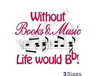 Books and Music - Machine Embroidery Design
