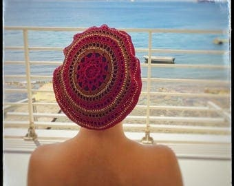 Hat Basque Woman Cotton Crochet Spring & Summer - Bordeaux\Brown