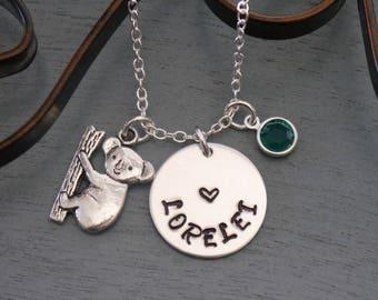 Personalized Koala Necklace, Koala Necklace, Koala Name Necklace, Koala Heart Necklace, Name Birthstone, Koala Bear Necklace, Koala, Custom