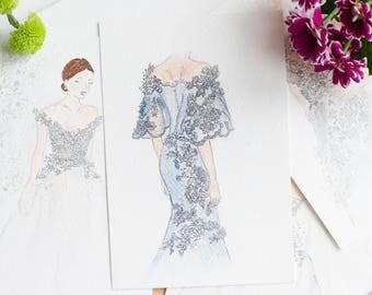 Wedding dress illustration Wedding drawing Custom Dress Wedding gown Bridesmaid gift Wedding gift Bridal custom illustration Dress sketch