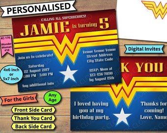 Wonder Woman Invitation, Wonder Woman Birthday Invite, Wonder Woman Birthday Invitation, Wonder Woman Party Invite, Wonder Woman Thank You