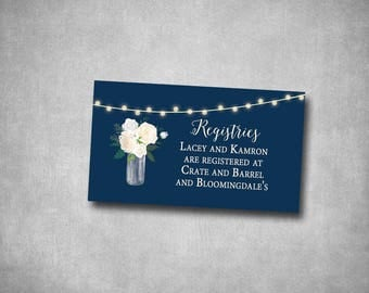 Registry Wedding Insert White Cream Navy String Lights Floral Roses Rustic Natural Country String Lights Printable or Printed I customize it
