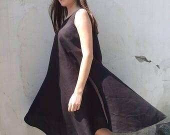 """Black linen dress """"Fuji"""""""