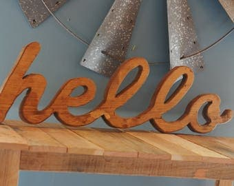 Wooden Hello, Hello Sign, Hello Cutout, Word Cutout