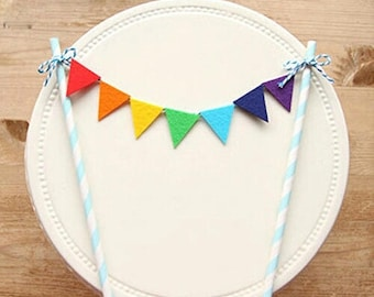 Cake Topper - Birthday, First Birthday any occasion, Colourful Bunting.