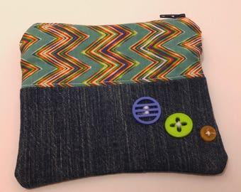 Denim Zipper Pouch with Zig Zag Motif & Decorative Buttons; cosmetic bag; zipper clutch; makeup bag; gadget case; gift for her; girls pouch