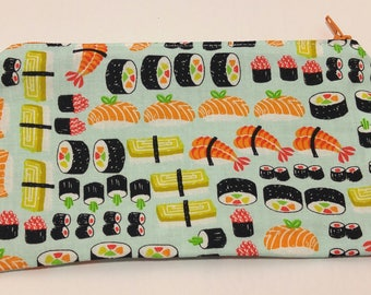 Sushi Print Novelty Zipper Pouch - makeup bag; pencil case; gift for her; cosmetic bag; carry all; gadget case; birthday; bridesmaids