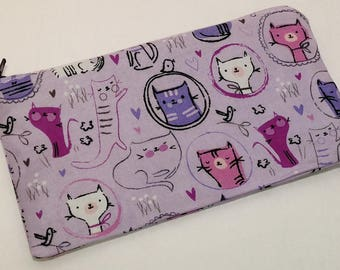 Purple Pussycats Novelty Zipper Pouch - makeup bag; pencil case; gift for her; cosmetic bag; carry all; gadget case; birthday
