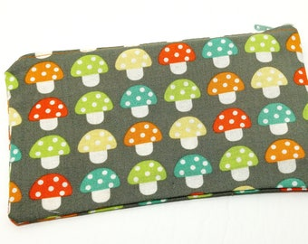 Colorful Mushrooms in a Row Novelty Zipper Pouch - makeup bag; pencil case; gift for her; cosmetic bag; carry all; gadget case; birthday