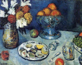 Still Life Painting, The dessert,  Pablo Picasso Oil Painting Museum Quality Reproduction