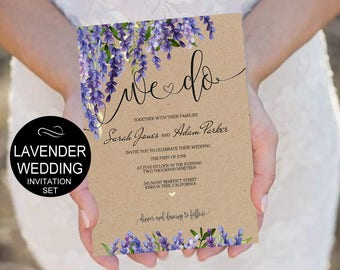 We Do Wedding Invitation Template Set Lavender Floral Watercolor Kraft  Invite DIY Printable Invitations