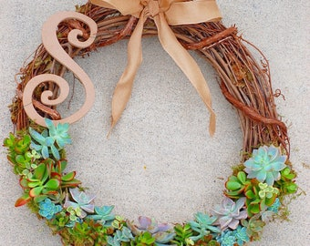 Living Succulent Wreath with Letter