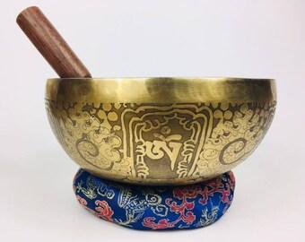 "8"" (Multi Chakra) Traditional Hand Made Tibetan Sound Healing Singing Bowl - 1.22kg ॐ"