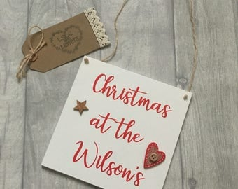 Christmas at the sign, personalised christmas sogn, christmas decor