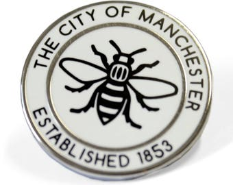 The City of Manchester Established 1853 Pin Badge - Hard Enamel Nickel Free Metal Brooch - Manchester Bee Madchester Hacienda Northern