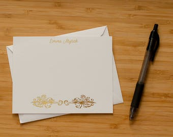 Decorative personalized gold foil press stationery set of 10 with envelopes