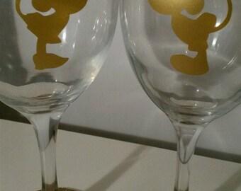 Disney Mickey Minnie Gold Wine Glass