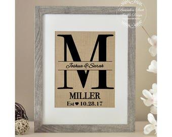 Burlap Monogram, Bridal Shower Gift, Burlap Wedding, Anniversary, Last Name, Personalized Wedding Gift for Couple, Rustic Wedding Gift