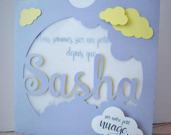 Announcements of birth or christening boy cloud gray and yellow theme