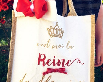 Tote bag with sequined inscription theme Queen Tote - gift idea
