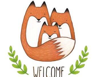 Welcome little fox - Folded card