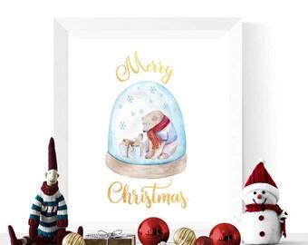 Christmas Printable | Watercolor Polar Bear Snowglobe Merry Christmas Printable | Christmas Printables  | Christmas Decorations | Digital