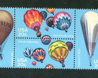 Balloon Stamps  /4 Unused USA Postage Stamps/ Hot Air Balloon Stamps