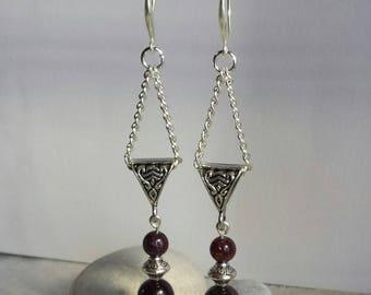 "Garnet Earrings ""red black Chanel"" ethnic chic silver metal"