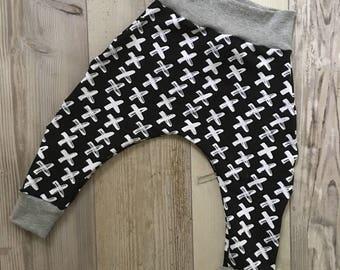 Crosses monochrome harems, harems, pirate, pirate baby, baby clothes, boy baby clothes, boy clothes, unisex